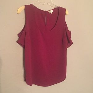 Tops - Crimson cold shoulder shirt